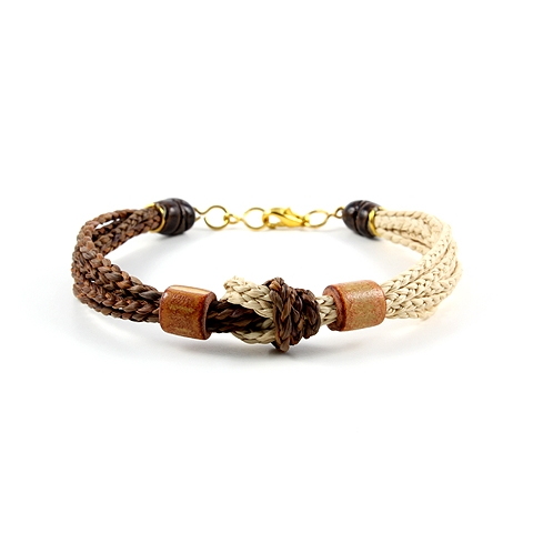 Buriti Palm Braided Bracelet with Gold Plated Brass Accents