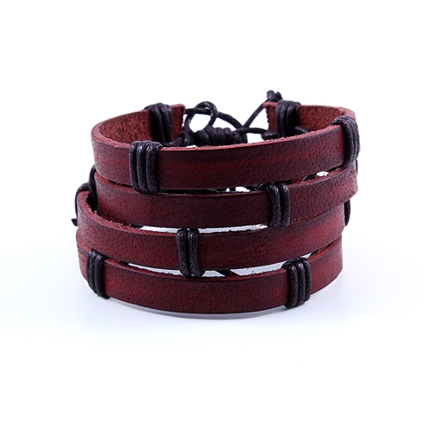 Red Leather Bracelets - Duo