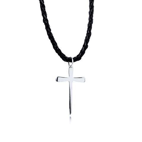 Men's Leather and Silver Holy Cross Pendant Necklace