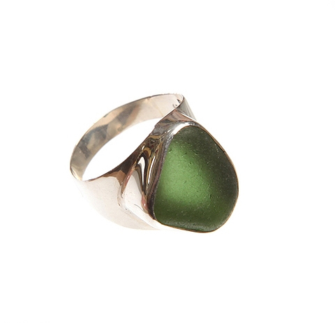 Sea Glass and Silver Ring - Bali-Style Box Bezel