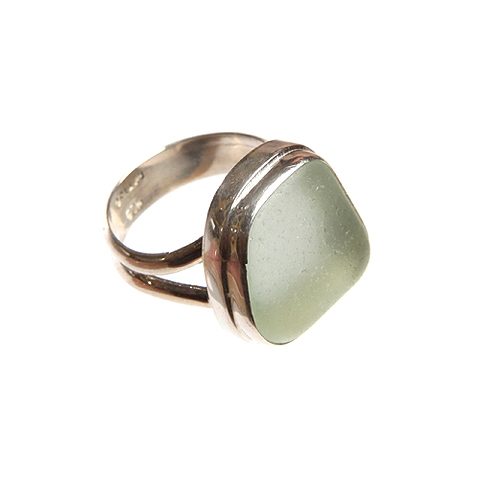 Sea Glass and Silver Ring - Double Band/Bezel