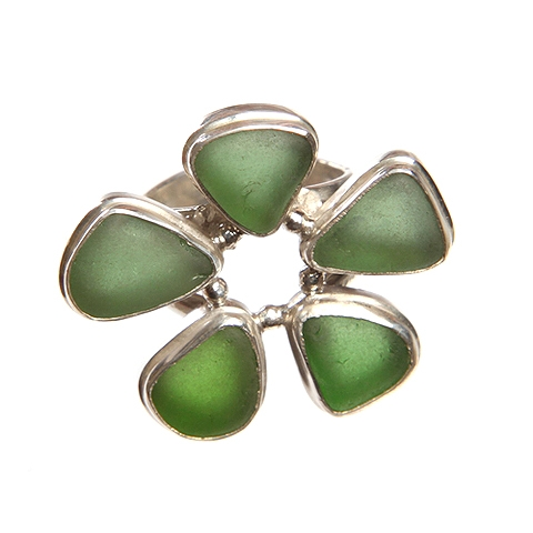 Flower Sea Glass and Silver Ring