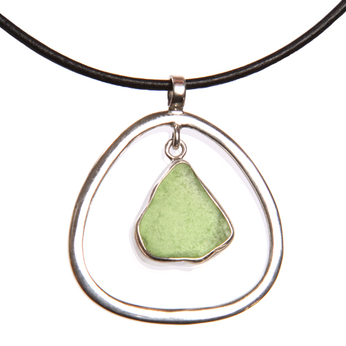Korina Sea Glass and Silver Pendant Necklace