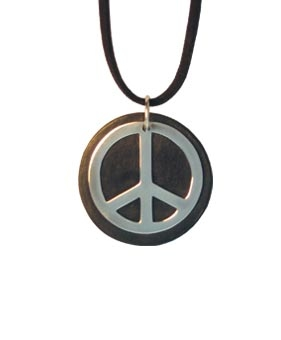 Peace Sign Round Leather and Silver Pendant Necklace