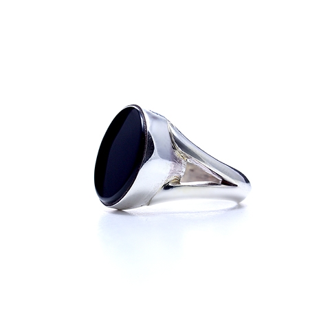 Silver Ring with Round Black Onyx Stone - Lunar Eclipse