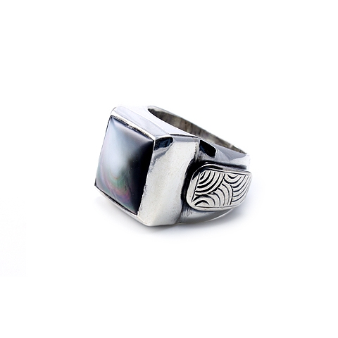 Silver Ring with Mother of Pearl Stone - Midnight Moon