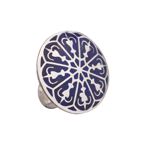 Round Lapis Cocktail Ring - Cathedral