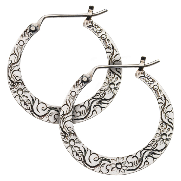 Silver Hoop Earrings - Floral Hoop