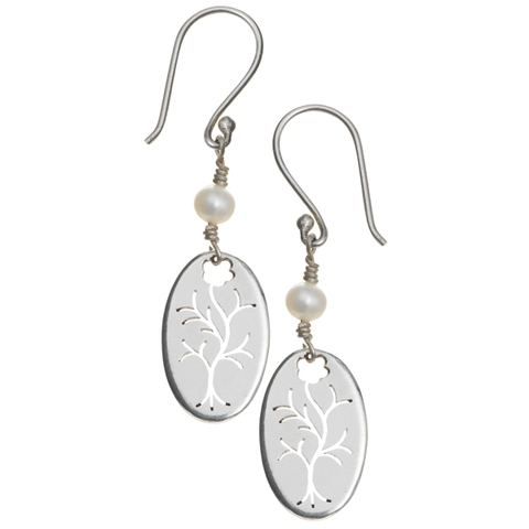 Drop Earrings with Pearl - Winter Tree
