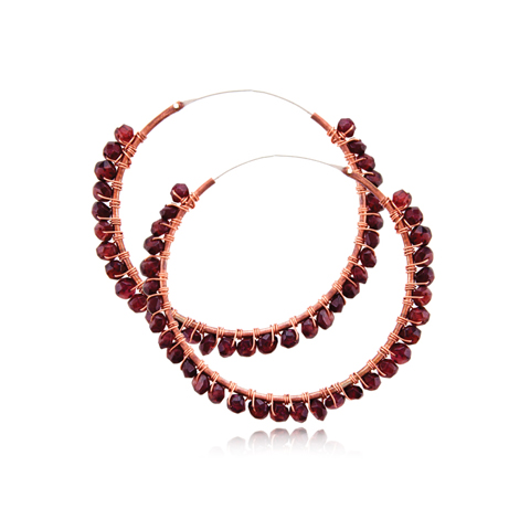 Copper Hoop Earrings with Garnet - Red Passion