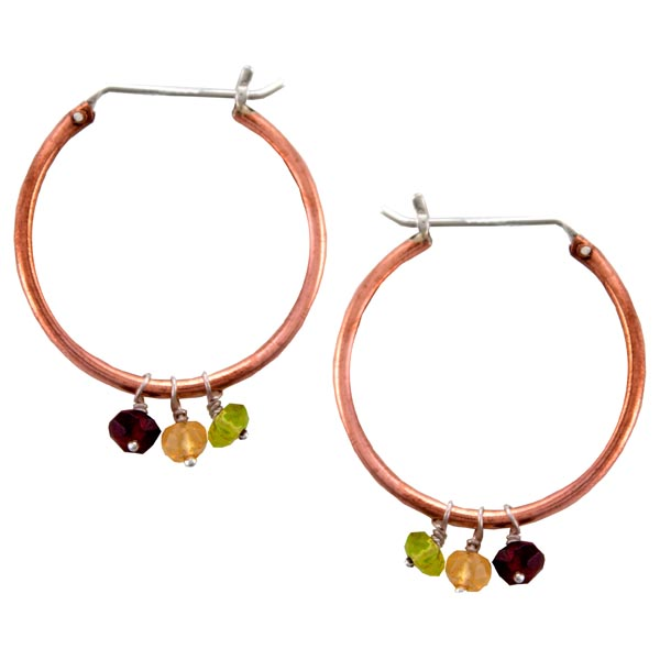 Silver and Copper Hoop Earrings with Citrine, Garnet and Peridot - Large Alchemy