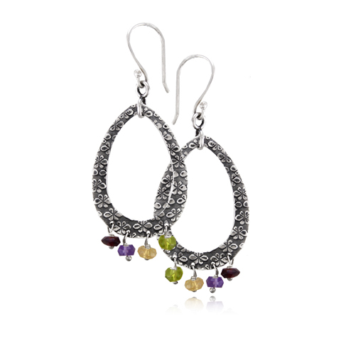 Silver Hoop Earrings with Gemstones - Primrose Tear