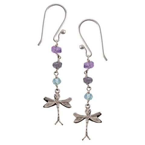 Drop Earrings with Topaz, Lolite and Amethyst - Dangle Dragonfly