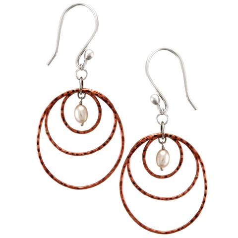Copper and Silver Drop Earrings with Pearl - Lunar Hoops