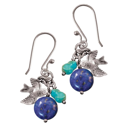Drop Earrings with Lapis and Turquoise - Avi Terra