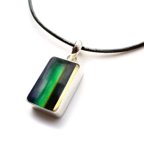 Upcycled Surfboard Resin Silver Pendant Necklace