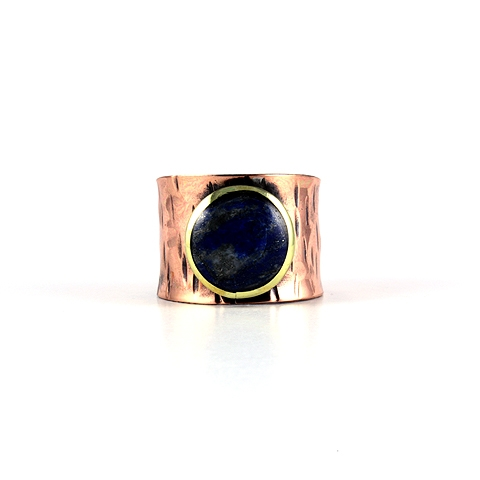 Adjustable Copper Ring with Lapis Lazuli Stone