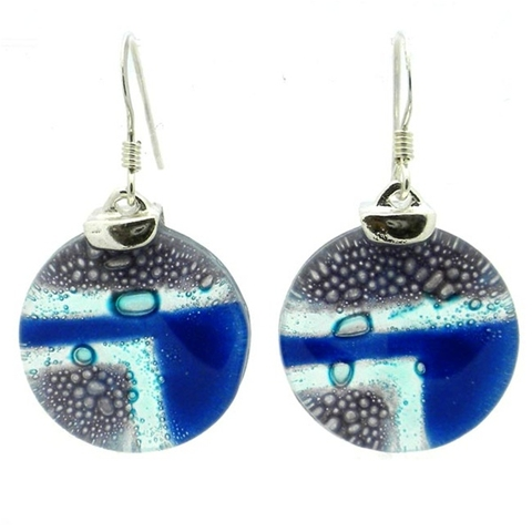 Round Glass and Silver Drop Earrings - Blue Highway