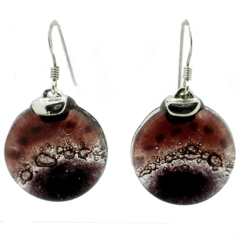 Round Glass and Silver Drop Earrings - Ripe Plum