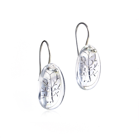 Tree of Life Wisdom Silver and Quartz Stone Drop Earrings