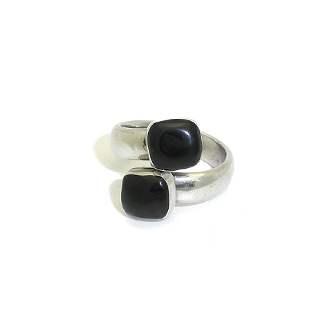 Inlaid Onyx and Alpaca Silver Adjustable Ring