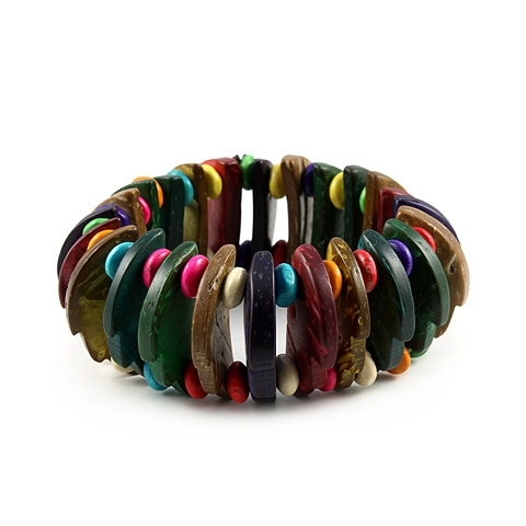 Painted Wood Stretch Bead Bracelet
