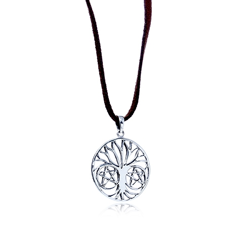 Tree of Life and Stars Round Silver Pendant Necklace