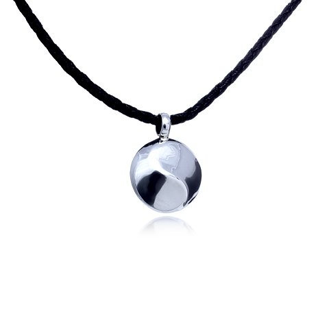 Flowing Yin Yang Silver Pendant and Leather Necklace