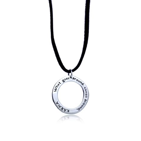 Round Silver Karma Necklace - Karma: What Goes Around Comes Around