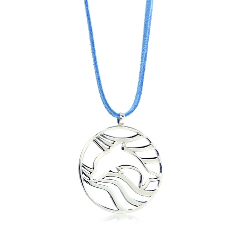 Delphinidae Dolphin Round Silver Pendant Necklace