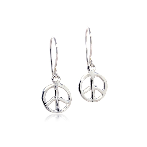 Peace Sign Silver Drop Earrings