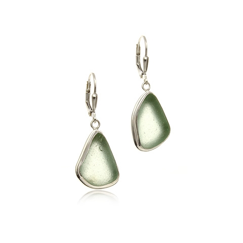 Sea Glass and Silver Drop Earrings - Calm Bay