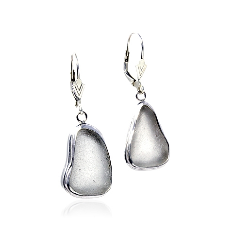 Sea Glass and Silver Drop Earrings - Moonlit Sand