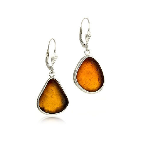 Sea Glass and Silver Drop Earrings - Sunset
