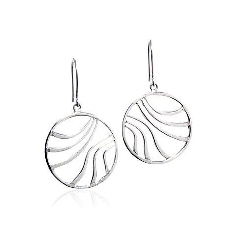 Delphinidae Round Silver Drop Earrings