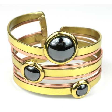 Brass and Copper Cuff Bracelet with Hematite Stones - Strips
