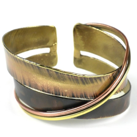 Brass and Copper Cuff Bracelet - Chance Meeting