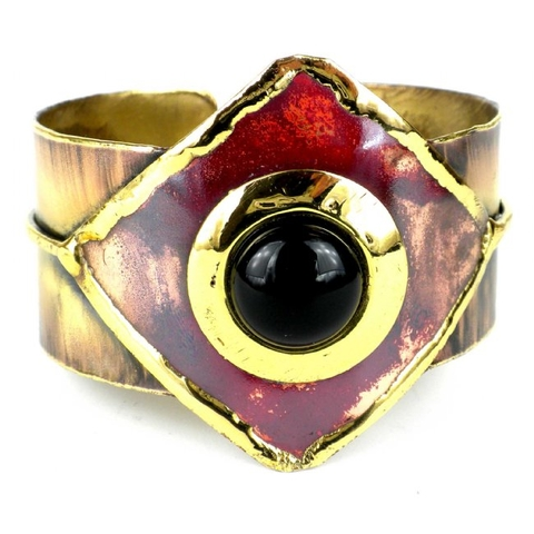 Brass and Copper Cuff Bracelet with Onyx