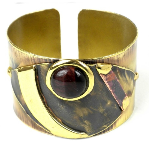 Brass and Copper Cuff Bracelet - Red Tiger Eye Reflections