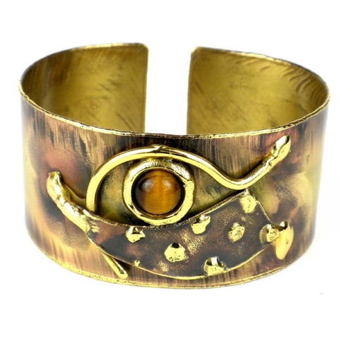 Brass Cuff Bracelet - Tucked Tiger Eye