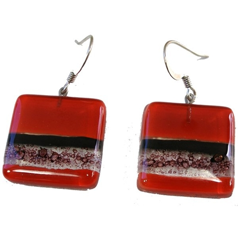 Square Glass Drop Earrings - Red and Black