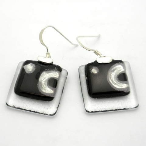 Clear Glass and Silver Drop Earrings  - Celestial Black