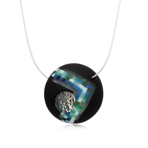 Round Glass and Silver Pendant Necklace - Blue Point Pixel Orb