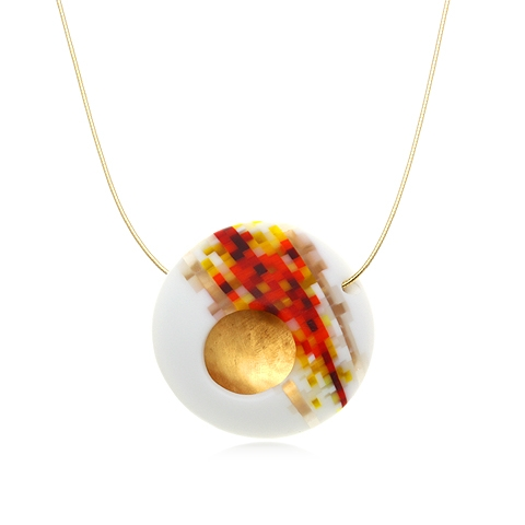 Round Glass and Gold Pendant Necklace - Pixel Flame Orb