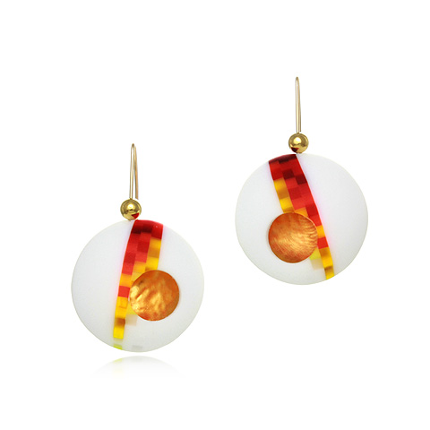 Round Glass and Gold Drop Earrings - Pixel Flame Orb