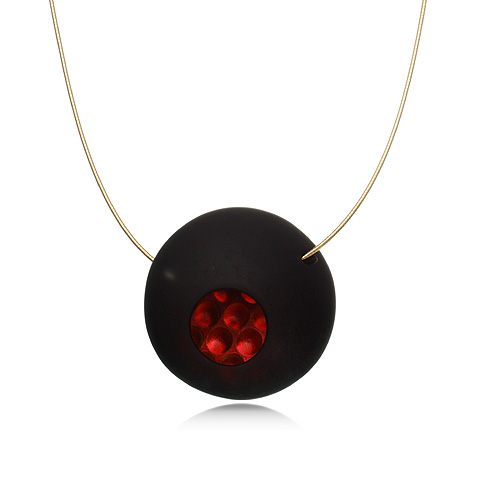 Round Glass and Gold Pendant Necklace - Red Lava Orb