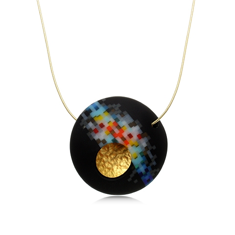Round Glass and Gold Pendant Necklace - Nebula Pixel Orb