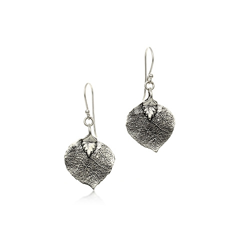 Bodhi/Pipal Leaf Silver Earrings