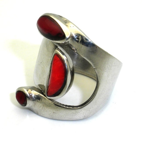 Wide Red Jasper and Alpaca Silver Adjustable Ring