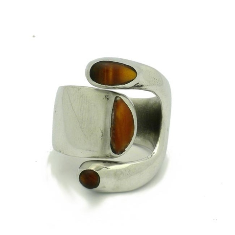 Alpaca Silver Ring with Wide Tiger Eye Stone